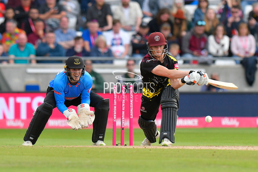 Tom Abell of Somerset plays a reverse sweep during the Vitality T20 Finals Day semi final 2018 match between Sussex Sharks and Somerset County Cricket Club at Edgbaston, Birmingham, United Kingdom on 15 September 2018.