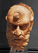Head of an ascetic, from Gandhara, Pakistan. AD 300-400 clay