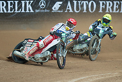 May 12, 2018 - Warsaw, Poland - Maciej Janowski (POL), Fredrik Lindgren (SWE) during 1st round of Speedway World Championships Grand Prix Poland in Warsaw, Poland, on 12 May 2018. (Credit Image: © Foto Olimpik/NurPhoto via ZUMA Press)