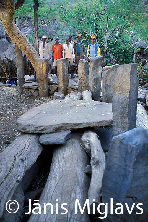 Stone grave markers, called Stellae in the Konso village of Buso, in the hills of Ethiopia's Omo river region, Africa