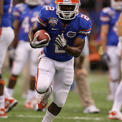 Jan 01, 2010; New Orleans, LA, USA;  Florida Gators running back Jeffery Demps (2) in warm ups prior to kickoff of the 2010 Sugar Bowl at the Louisiana Superdome.  Mandatory Credit: Derick E. Hingle-US PRESSWIRE.