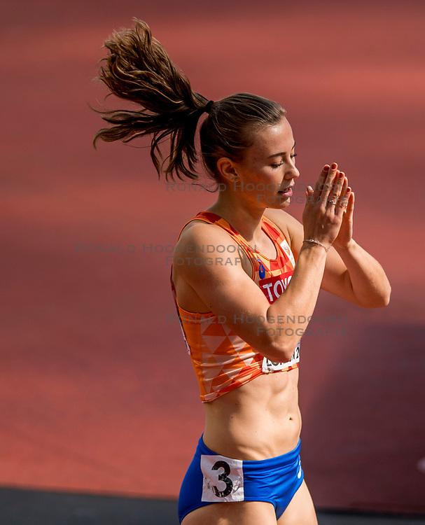 05-08-2017 IAAF World Championships Athletics day 2, London<br /> Nadine Visser NED (zevenkamp) wint de 100 meter horden.