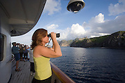 Cruise ship off Ua Po, Marquesas, French Polynesia<br />