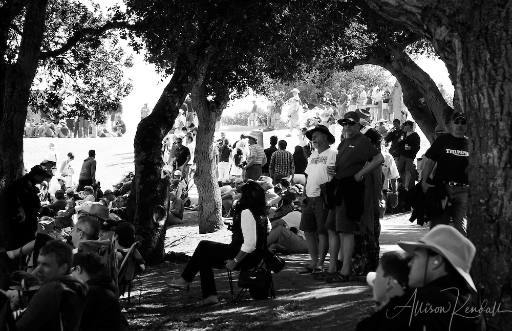 Event spectators watch the racing action in the corkscrew of Laguna Seca during the 2013 Rolex Monterey Motorsports Reunion