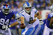 EAST RUTHERFORD, NJ - SEPTEMBER 18:  Detroit Lions quarterback Matthew Stafford (9) during  the National Football League game between the New York Giants and the Detroit Lions on September 18, 2017, at MetLife Stadium in East Rutherford, NJ. (Photo by Rich Graessle/Icon Sportswire)