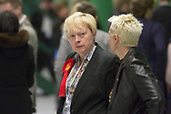 Labour Party candidate and sitting MP Angela Eagle watching the votes being counted at Bidston Tennis Centre, Wirral in the Wallasey constituency in the 2015 UK General Election. Ms Eagle first won the seat for Labour at the 1992 General Election. Voters across the UK went to the polls to vote to elect 650 constituency MPs.