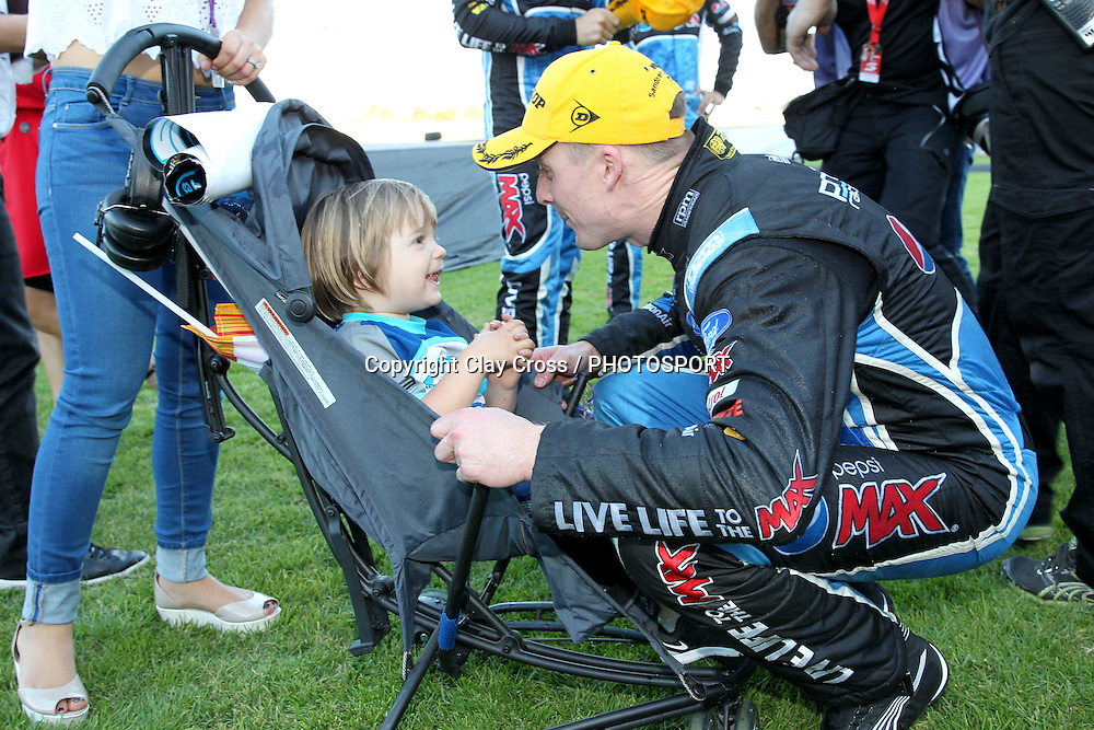 Mark Winterbottom  (Pepsi Max Ford) wife Renee and sons Oliver & Austin. 2015 Wilson Security Sandown 500. V8 Supercars Championship Round 9. Sandown International Raceway, Victoria. Sunday 13 September 2015. Photo: Clay Cross / photosport.nz