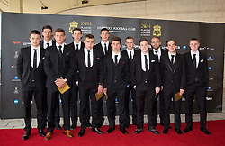 LIVERPOOL, ENGLAND - Tuesday, May 6, 2014: Liverpool's Under-21 squad arrives on the red carpet for the Liverpool FC Players' Awards Dinner 2014 at the Liverpool Arena. Jordan Lussey, Rafael Paez Cardona, Kristoffer Peterson, Jordan Williams, Connor Randall, captain Lloyd Jones, Cameron Brannagan, Brad Smith, Jack Dunn, Ryan McLaughlin, Daniel Trickett-Smith, Jordan Rossiter. (Pic by David Rawcliffe/Propaganda)