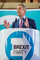 © Licensed to London News Pictures. 11/11/2019. Hartlepool UK. Brexit party leader Nigel Farage speaking at the Best Western Grand Hotel in Hartlepool today as part of the General Election campaign. Photo credit: Andrew McCaren/LNP