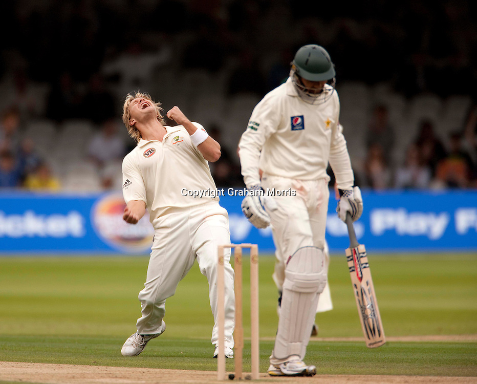 Shane Watson celebrates the wicket of Danish Kaneria (right) during the MCC Spirit of Cricket Test Match between Pakistan and Australia at Lord's.  Photo: Graham Morris (Tel: +44(0)20 8969 4192 Email: sales@cricketpix.com) 14/07/10