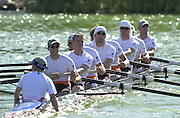 Peter Spurrier Sports  Photo.email pictures@rowingpics.com.Tel 44 (0) 7973 819 551.Tel/Fax 44 (0) 1784 440 772..NED M8+ at the 'warming - up' area Thurs PM 20010515 FISA World Cup, Seville, SPAIN