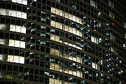 close up of office high rise in Tokyo at night