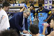 Sacchetti Meo time out Cremona, Germani Basket Brescia vs Vanoli Cremona - 13 giornata Campionato LBA 2017/2018, PalaGeorge Montichiari 2 gennaio 2018 - foto BERTANI/Ciamillo