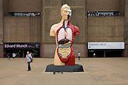 Damien Hirst's sculpture artwork entitled Hymn, on display outside Tate Modern on London's southbank.