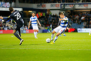 Rangers Defender Jake Bidwell SHOOTS during the EFL Sky Bet Championship match between Queens Park Rangers and Sheffield Wednesday at the Loftus Road Stadium, London, England on 23 October 2018.