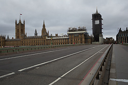 London's Parliament building seen from Westminster Bridge. <br /> <br /> Some parts of central London are being left unusually quiet at times as consideration is given to social distancing during the COVID-19 pandemic.
