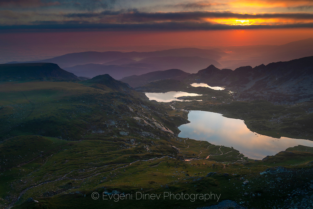 Seven Rila lakes at sunrise