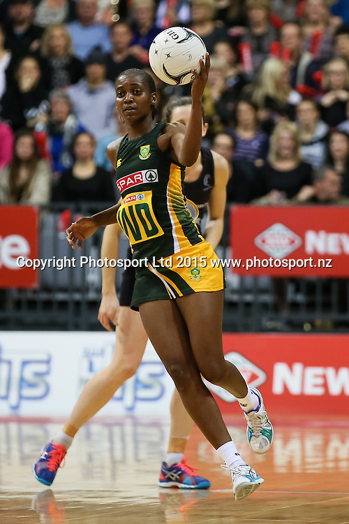 Spar Protea's Precious Mthembu in action during the international Netball match - Silver Ferns v South Africa at Claudelands Arena, Hamilton on Sunday 26 July 2015.  Copyright Photo:  Bruce Lim / www.photosport.nz