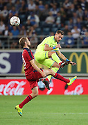 Birger Verstraete (Gent) fight for the ball during the first leg of the Uefa Europa League play-off match between Kaa Gent and Girondins de Bordeaux on August 23, 2018 in Ghent, Belgium, Photo Vincent Van Doornick / Isosport / Pro Shots / ProSportsImages / DPPI