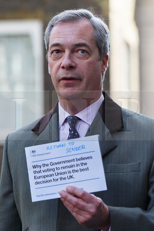 © Licensed to London News Pictures. 15/04/2016. London, UK. UKIP leader Nigel Farage delivers letters to 10 Downing Street referencing the recent pro-EU Government communication to all UK households on Friday, 15 April 2016. Photo credit: London News Pictures