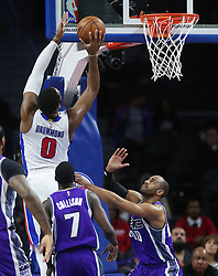 January 23, 2017 - Auburn Hills, MI, USA - Detroit Pistons center Andre Drummond scores against the Sacramento Kings during first period action on Monday, Jan. 23, 2017 at The Palace of Auburn Hills in Auburn Hills, Mich. (Credit Image: © Kirthmon F. Dozier/TNS via ZUMA Wire)