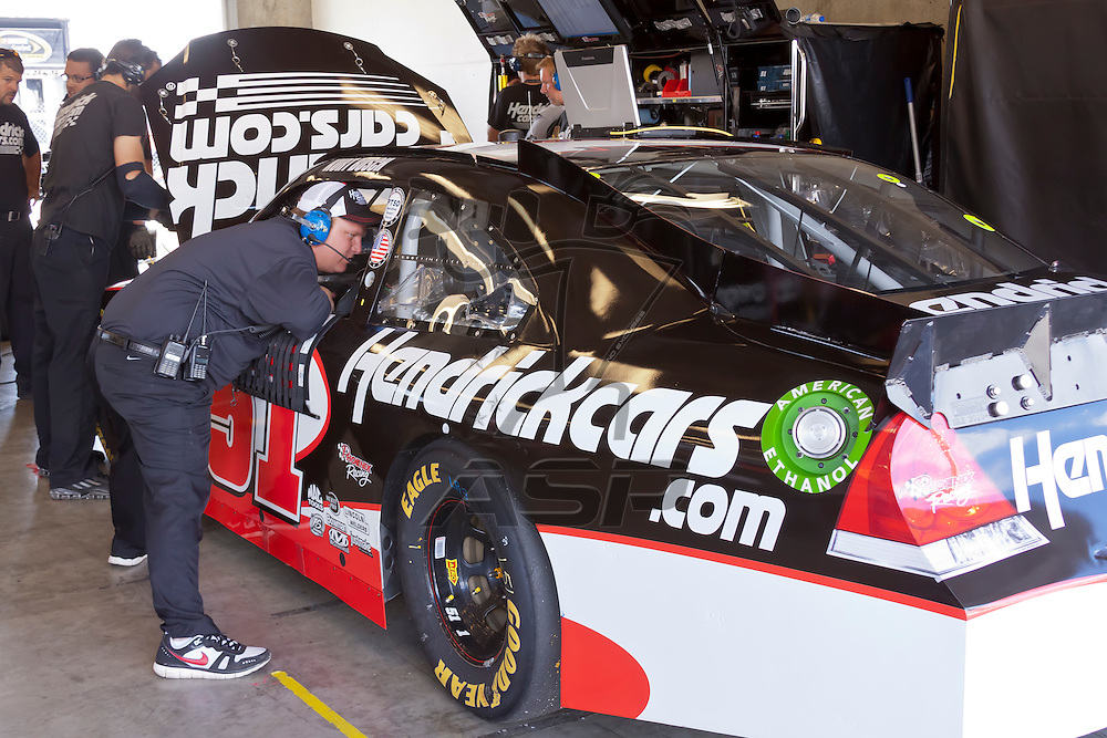 INDIANPOLIS, IN - JUL 28, 2012:  Kurt Busch (51) and prepare their car during a practice session for the Curtiss Shaver 400 presented by Crown Royal at the Indianapolis Motor Speedway in Indianapolis, IN.