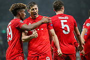 Bayern Munich forward Robert Lewandowski (9) celebrates after scoring a goal (1-2) during the Champions League match between Tottenham Hotspur and Bayern Munich at Tottenham Hotspur Stadium, London, United Kingdom on 1 October 2019.