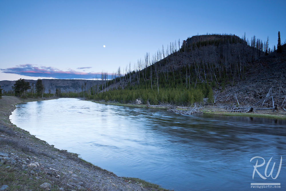 Moon Over Madison River at Dusk, Yellowstone National Park, Wyoming