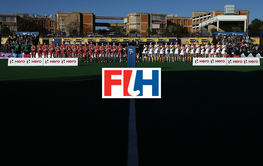 JOHANNESBURG, SOUTH AFRICA - JULY 16:  Teams line up for the national anthems during day 5 of the FIH Hockey World League Women's Semi Finals Pool B match between South Africa and United States of America at Wits University on July 16, 2017 in Johannesburg, South Africa.  (Photo by Jan Kruger/Getty Images for FIH)