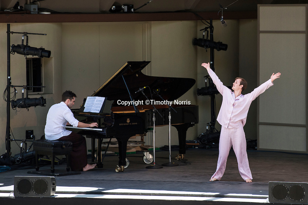 "Dancer Dallas McMurray and pianist Colin Fowler perform ""Ten Suggestions"" at Libbey Bowl on June 9, 2013 in Ojai, California."