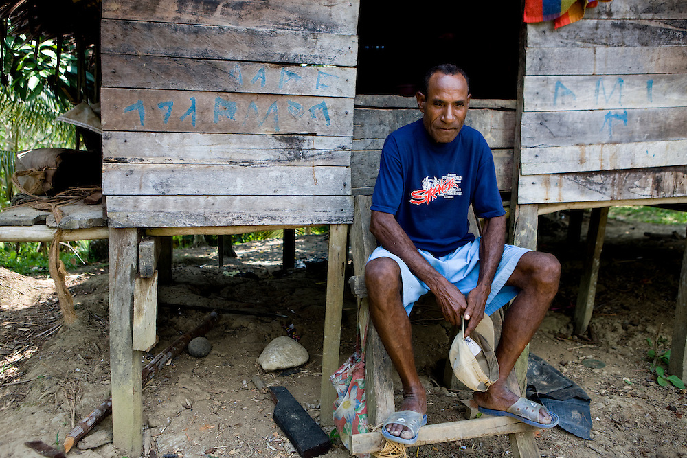 Residents of the village of Beniek oppose palm oil expansion in their land on the island of Papua, Indonesia, Sept. 5, 2008..Daniel Beltra/Greenpeace