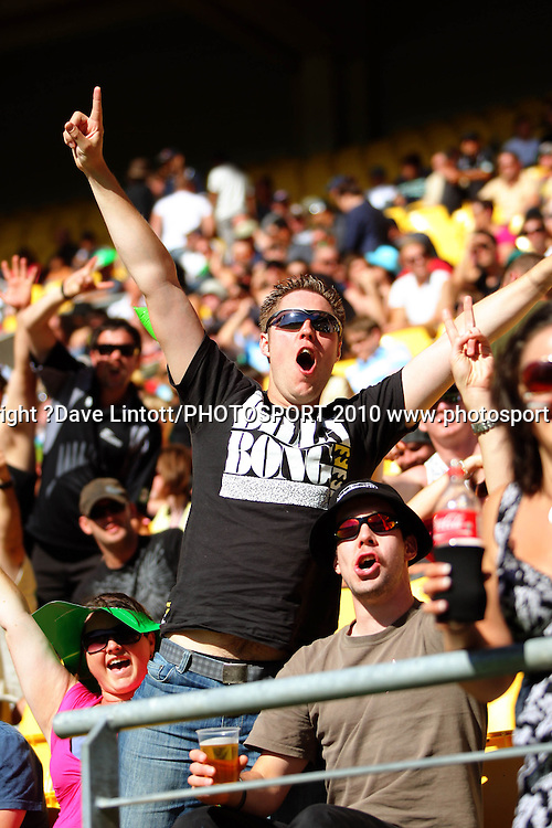 Fans.<br /> Fifth Chappell-Hadlee Trophy one-day international cricket match - New Zealand v Australia at Westpac Stadium, Wellington. Saturday, 13 March 2010. Photo: Dave Lintott/PHOTOSPORT