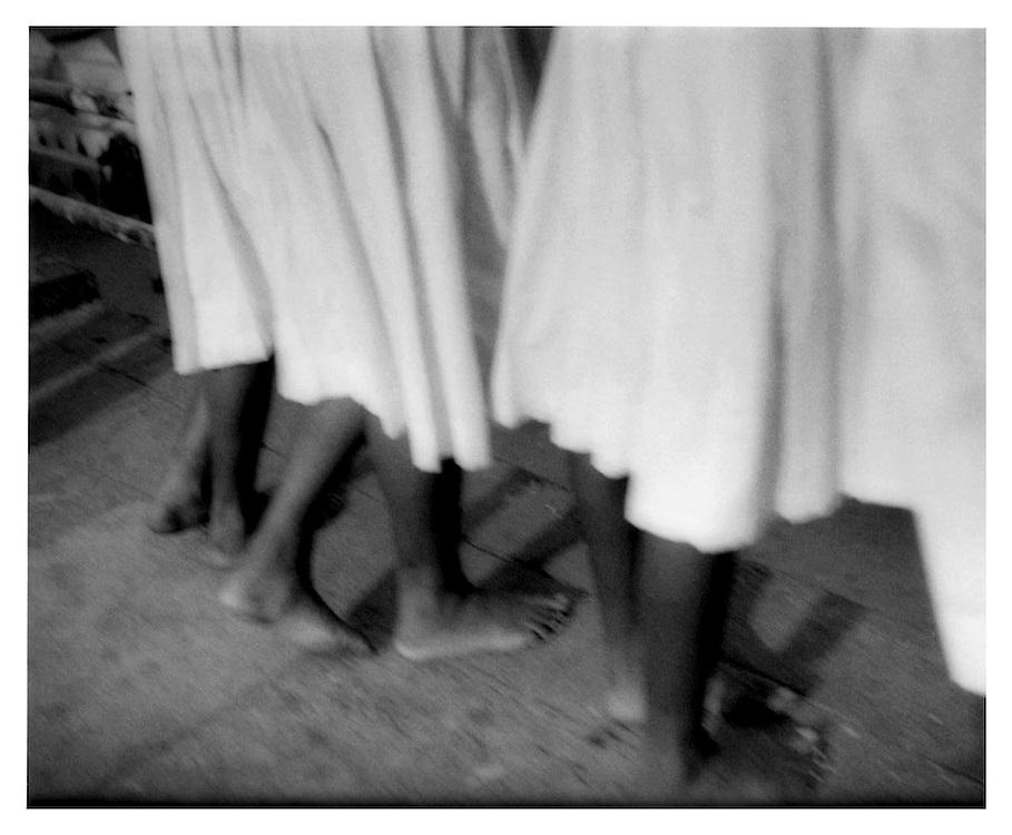 School girls' feet.