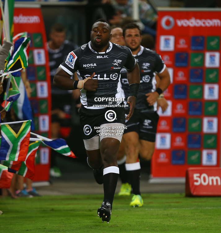 DURBAN, SOUTH AFRICA - MARCH 05:  Tendai Mtawarira (captain) of the Cell C Sharks during the 2016 Super Rugby match between Cell C Sharks and Jaguares at Growthpoint Kings Park Stadium on March 05, 2016 in Durban, South Africa. (Photo by Steve Haag/Gallo Images)