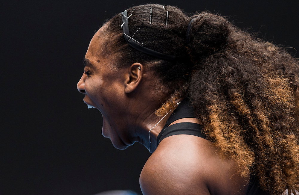 Serena Williams of the United States on day two of the 2017 Australian Open at Melbourne Park on January 17, 2017 in Melbourne, Australia.<br /> (Ben Solomon/Tennis Australia)