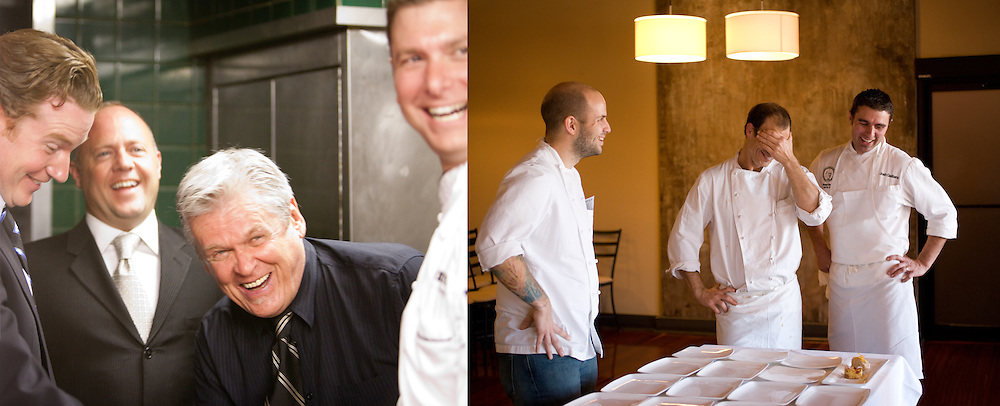 client: left, Herbie's Restaurant right, personal, Niche's Gerard Craft, Monarch's Josh Galliano and Sidney Street's Kevin Nashan in a lull before plating dessert for a Ruth Riechel dinner.