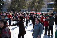 dancing retired people in the park at the end of &quot;happy healthy&quot; street (Kangle Jie)<br /> Shijiazhuang, Hebei, China