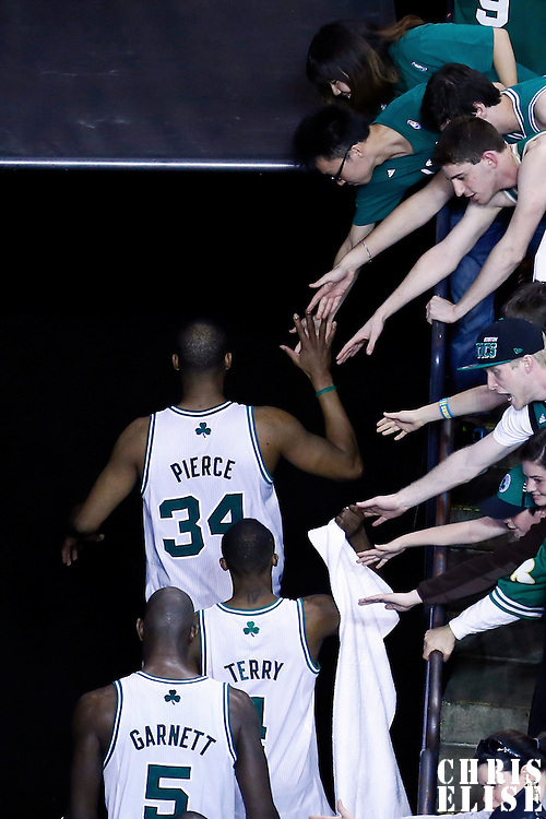 03 May 2013:  Boston Celtics small forward Paul Pierce (34), Boston Celtics shooting guard Jason Terry (4) and Boston Celtics center Kevin Garnett (5) leave the court following the New York Knicks 88-80 victory over the Boston Celtics during Game Six of the Eastern Conference Quarterfinals of the 2013 NBA Playoffs at the TD Garden, Boston, Massachusetts, USA.