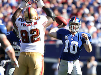 Oct 21, 2007: East Rutherford, NJ, USA: New York Giants quarterback (10) Eli Manning passes the ball against the San Francisco 49ers during the first half at Giants Stadium. Giants won 33-15..