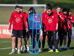CARDIFF, WALES - Monday, November 18, 2019: Wales' Sam Vokes (L), Aaron Ramsey (C) and captain Ashley Williams during a training session at the Vale Resort ahead of the final UEFA Euro 2020 Qualifying Group E match against Hungary. (Pic by David Rawcliffe/Propaganda)