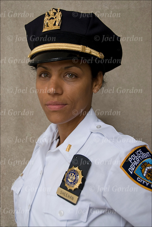 NYPD Female Lieutenant Sheehan Flerida on duty wearing class A uniform during the Puerto Rican Day Parade