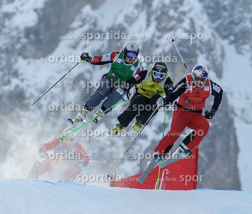 16.12.2012, Haunold, Innichen, ITA, FIS Ski Cross Weltcup, Achtelfinale der Herren, im Bild Louis-Pierre Helie (CAN, green), Stefan Thanei (ITA, yellow), Tomas Kraus (CZE, red) und Patrick Gasser (SUI, blue) // during 1/8 finals of men of FIS ski cross world cup at San Candido, Italy on 2012-12-16, EXPA Pictures © 2012, PhotoCredit: EXPA/ M. Gruber
