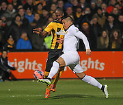 Manchester United's Marcos Rojo battling with Cambridge United Tom Elliott during the The FA Cup match between Cambridge United and Manchester United at the R Costings Abbey Stadium, Cambridge, England on 23 January 2015. Photo by Phil Duncan.
