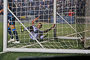 Michael Cheek has a goal disallowed during the The FA Cup match between Bromley and Bristol Rovers at the Westminster Waste Stadium, Bromley, United Kingdom on 19 November 2019.