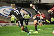 Henri Lansbury (Nottingham Forest) runs to celebrate putting Nottingham Forest 3-2 in front having scored a header during the EFL Sky Bet Championship match between Barnsley and Nottingham Forest at Oakwell, Barnsley, England on 25 November 2016. Photo by Mark P Doherty.