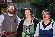 Cast members in the Queen's Arena between Joust Tournament shows at the Carolina Renaissance Festival in Huntersville, North Carolina.