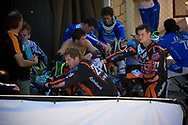 The dutch team takes a break from the heat during the first practice round at the UCI BMX Supercross World Cup in Santiago del Estero, Argintina.