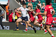 Twickenham, United Kingdom. 2nd June 2018, HSBC London Sevens Series. Game No. 17.     Pool, D.  Russian German DAVYDOV, hands off, Pat KAY, during the Canada vs Russia,  played at  theRFU Stadium, Twickenham, England, <br /> <br /> <br /> © Peter SPURRIER/ Alamy Live News