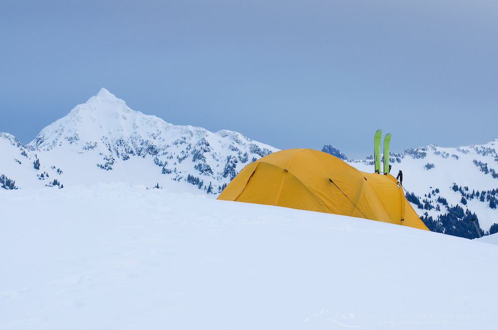 Winter backcountry campsite in the North Cascades, Washington