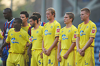 Torquay Wall : L to R. Kieran Charnock, Wayne Carlisle , Scott Rendell, Nicky Woe, Chris Robertson.  Crystal Palace v Torquay United 11/08/2009 Carling League Cup  Credit : Colorsport / Andrew Cowie